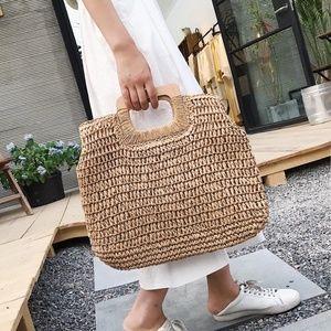 spring boho straw bag wood handle tote tan